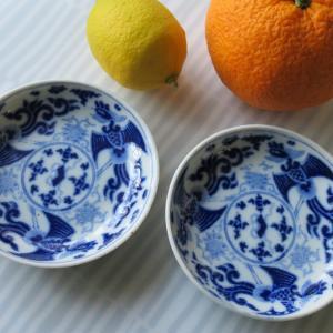 青絵の器(4)鳳凰小皿  鎌倉野菜を買いに
