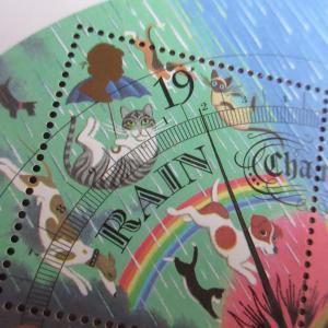イギリスの天気の切手 猫と犬が降ってくる