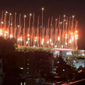オリンピック開会式のエンディングの花火 23:48