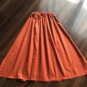 コットンのオレンジギャザースカート