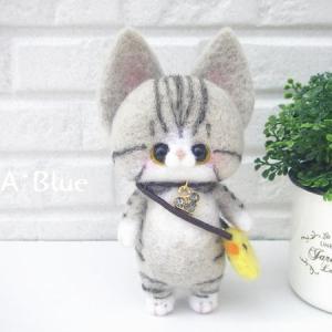 羊毛フェルト*(猫好きさん必見!)マンチカンさんのストラップ♬