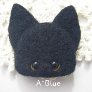 羊毛フェルト*にゃんこブローチ♬黒猫さん(*´꒳`*)