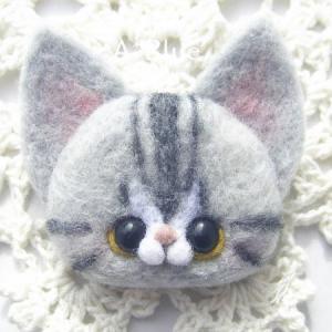 羊毛フェルト*にゃんこブローチ♬アメリカンショートヘアさん(*´꒳`*)