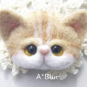 羊毛フェルト*ぬこ様ブローチ♪エキゾチックショートヘア(*´꒳`*)