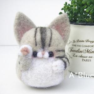 羊毛フェルトの招き猫さん♬サバトラハチワレ(*´꒳`*)