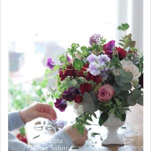 フレッシュフラワーレッスン ~春の花とローズを組み合わせて~