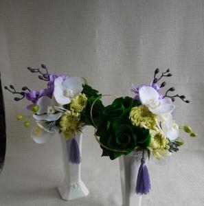 モスグリーンアモローサで仏花制作