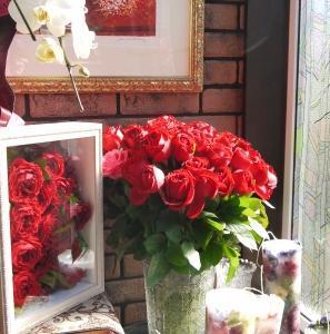 庭の薔薇とダリアをキャンドルにしました