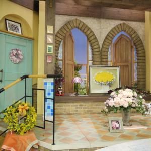3月のごきげんテレビスタジオにミモザのリース