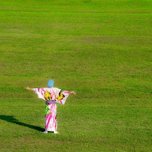 江戸川河川敷でPHOTO KIONO Aを着る ~Studio Laspが撮る柴又の景色と着物