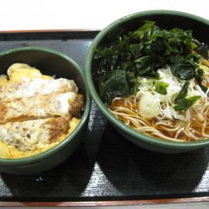 船橋グルメ ゆで太郎で日替わりマル得セット/温そば+ミニかつ丼セット(590円)を頂きました!無料クーポン券も使用!