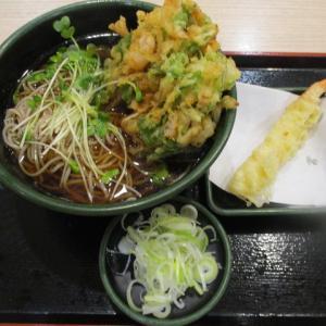 船橋グルメ ゆで太郎で2種類の天然海老のかきあげそば(580円)を頂きました!海老天ぷらの無料クーポン券も使用!