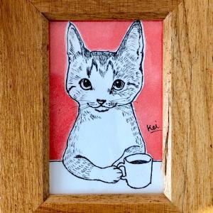 イラスト【カフェする猫】