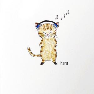 ミュージックを聞く猫