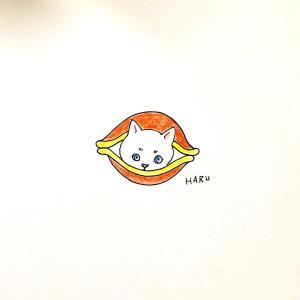 どら焼き猫のイラスト。