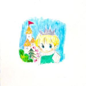 城の日、可愛い男の子の王子様のイラスト。