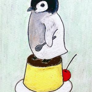 【クレヨンイラスト】プリンに乗ったペンギン