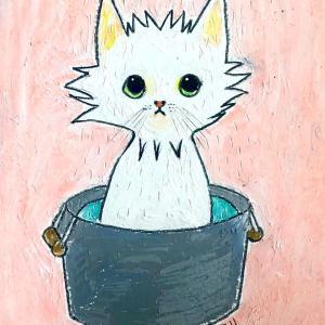 【クレヨンイラスト】よい風呂の日の猫