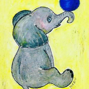 【クレヨンイラスト】子象のイラスト完成、お披露目。