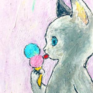 【クレヨン画】アイスクリームと猫