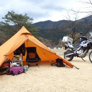 設営完了!くのわき親水公園キャンプ場。