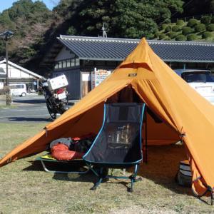 設営完了!萩阿武川温泉公園キャンプ場。