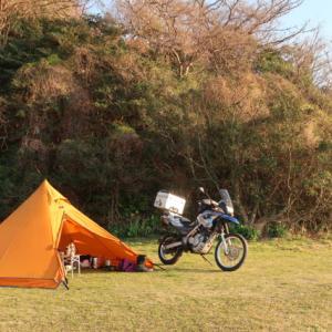 設営完了!大角海浜公園くじら広場キャンプ場。