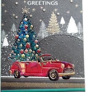 新作キット 赤い車とクリスマスツリー