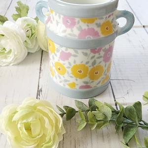 【ポーセラーツ生徒さま作品】ブルーグレーと北欧調の花柄で作るカトラリー立て