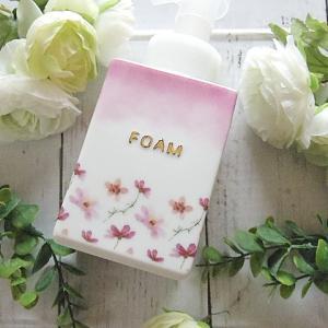 【ポーセラーツ生徒さま作品】綺麗な上絵の具のグラデーション♡花柄のソープボトル