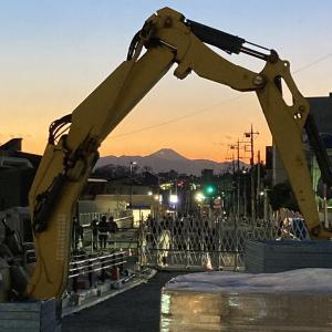 工事中の世田谷代田駅前と代田富士