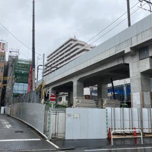下北沢高架下開発 A街区新築工事の様子(2021年5月、7月)