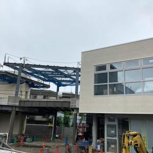 下北沢駅南西口の「(tefu)lounge」(テフラウンジ)の工事状況(2021年9月中旬)