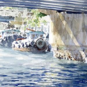 橋下から覗く舟:F4