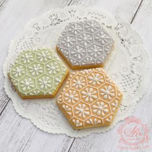 【アイシングクッキー】和柄・亀甲菊