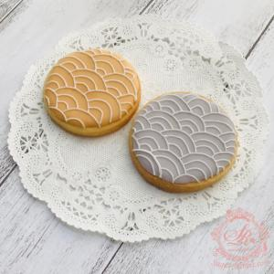 【アイシングクッキー】和柄・青海波(せいがいは)