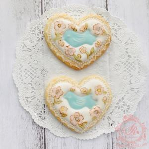 【アイシングクッキー】リバティプリント風 青い鳥