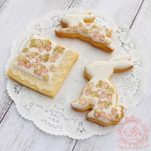 【アイシングクッキー】リバティプリント風 イチゴ柄