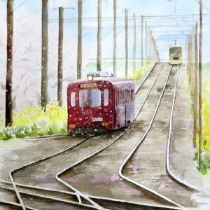 桜舞うチン電 (阪堺電車)