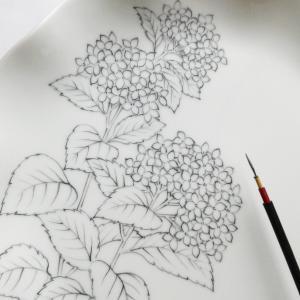 紫陽花の絵付け