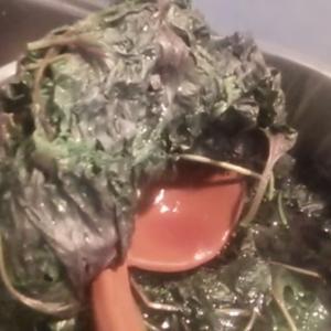 なんだ! まずそう。 嫁が草みたいなものを鍋で煮込んでいる