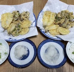 キス、ムカゴ、サツマイモ、シメジの天ぷら