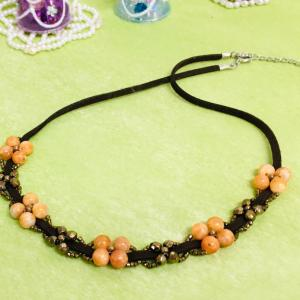 天然石オレンジカルサイト小花モチーフヒモネック…