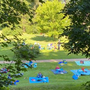 ドイツの公園でコロナ対策の青空授業