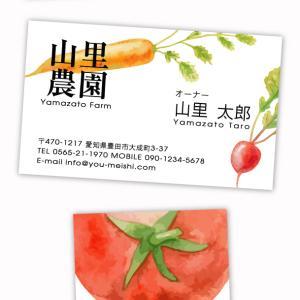 ♡♡農家・農園さん向けデザイン名刺♡♡水彩風の野菜が描かれた農家さんにピッタリの名刺☆