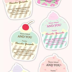♡♡カップケーキ型名刺♡♡甘かわいいカップケーキ型名刺☆タグ型やアクセサリー台紙での作成OK☆