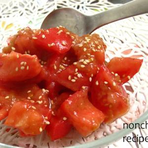 トマトとうす塩味梅のオニオンソースマリネ。°
