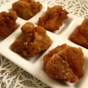 赤梅酢と豆板醤の鶏もも肉のからあげ。°