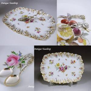 ★★Teardrop 可憐な花紋ドレスデン皿と薔薇のティースプーン★★