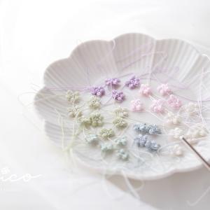 絹糸のお花、編み始めました。